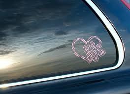 I Love My Dog Paw Heart Rhinestone Car Decal Bling Pink Etsy