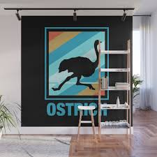 Vintage Ostrich Silhouette Wall Mural By Nik007 Society6