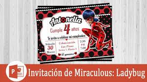 Invitacion De Ladybug En Power Point Con Imagenes Invitaciones
