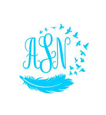 Feather Bird Monogram Vinyl Decal Custom Car Decal Personalized 3 Letter Monogram Self Applied Monogram Personalized Decal With Images Monogram Vinyl Decal Monogram Stickers Custom Car Decals
