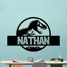Amazon Com Vinyl Decacls Jurassic World Jurassic Park Wall Decal Boy Name Girl Name Room Wall Decor Vinyl Decal Sticker Personalized Dinosaur Kid Room Home Kitchen