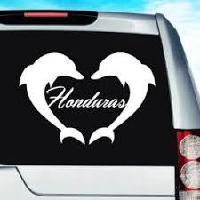 Honduras Dolphin Heart Vinyl Car Window Decal Sticker