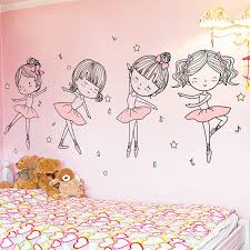 Shijuehezi Ballet Dancer Wall Stickers Diy Cartoon Girl Dancing Wall Decals For Kids Room Baby Bedroom House Decoration Home Sticker Home Wall Art Stickers From Mwanna 13 1 Dhgate Com