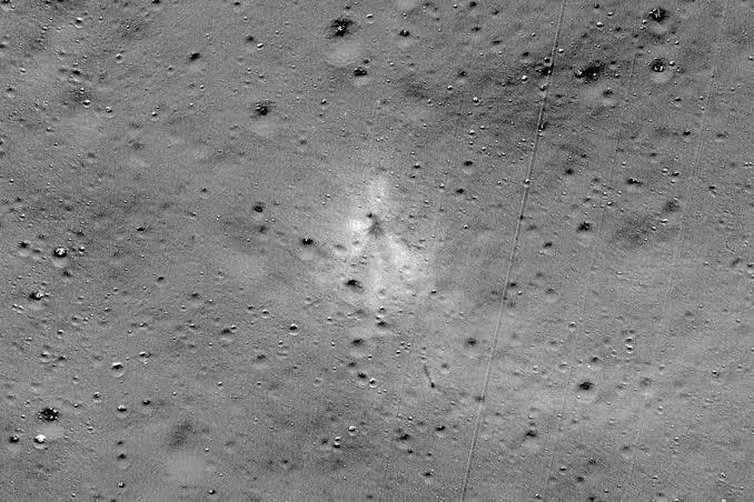 "Image result for NASA finds Vikram Lander, tweets images of impact site on moon surface"""