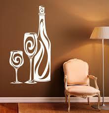 Wine Bottle Pattern Wall Decal Vinyl Glass Housewares Modern Home Decor Kitchen Design Wine Vinyl Decals Ay1879 Wall Stickers Aliexpress