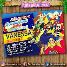 Dc Super Hero Girls Birthday Invitation We Deliver Your Order
