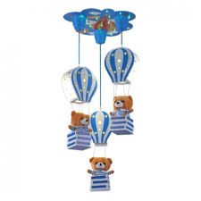 Adorable Bear 3 Lights Suspended Light Blue Pink Wooden Ceiling Pendant Lamp For Baby Kids Room Beautifulhalo Com