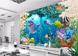 H707 Coral Reef Fish Ocean Blue Smashed Wall Decal 3d Art Stickers Vinyl Room