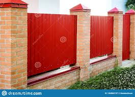 Brick And Metal Red Fence With Door And Gate Of Modern Style Design Metal Fence Ideas Stock Image Image Of Architecture Column 136860197