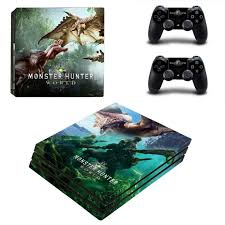 Monster Hunter World Ps4 Pro Edition Skin Sticker Decal Console And Controllers By Video Games Design De Ps4 Pro Console Ps4 Slim Console Playstation 4 Console