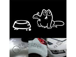 1pcs Funny Cat Car Sticker Hungry Cat Decal Fuel Tank Cap Decor For Car Window Bumper Laptop Wall Decor Motorcycle Accessories Newegg Com