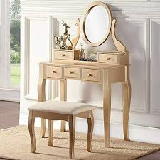com gold vanity set with stool