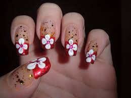 red tip acrylic nails with rhinestones