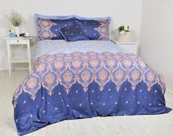 navy baby blue damask bedding set in