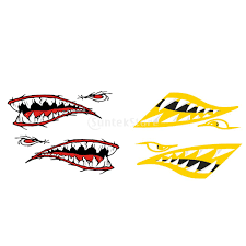2pcs Shark Teeth Mouth Funny Boat Decal Kayak Canoe Rowboat Car Vinyl Graphics Accessories