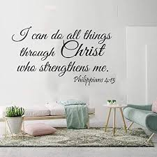 Amazon Com Wall Stickers Murals I Can Do All Things Through Christ Wall Sticker Bedroom Living Room Bible Verse Jesus Quote Wall Decal Vinyl 75x43cm Kitchen Dining