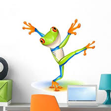 Amazon Com Wallmonkeys Dancing Tree Frog Wall Decal Peel And Stick Graphic 24 In H X 24 In W Wm310394 Furniture Decor