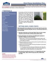 Vinyl Fence Installation Tips Lowe S