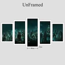 Yphyhd Painting Wall Art Game Poster Canvas Printed Modern 5 Panel Bioshock Rapture Night View Modular Pictures Home With Free Shipping Worldwide Weposters Com