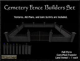 Second Life Marketplace Old World Designs Cemetery Fence Set Full Perm Low Prim Graveyard Walls And Gates