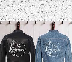Amazon Com Mr And Mrs Custom Jacket Decals Custom Name Denim Jackets Wedding Iron On Transfer Leather Jacket Decal Wedding Decals Jacket Decals Handmade