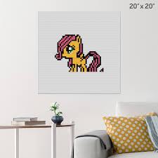 My Little Pony Fluttershy Pixel Art Wall