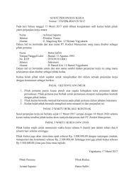 23 Contoh Surat Perjanjian Kerjasama Jual Beli Tanah Hutang Kontrak Sewa Rumah Dll