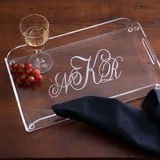 monogrammed clear lucite serving tray