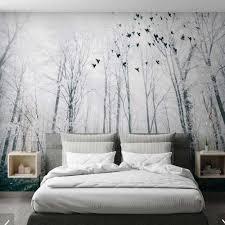 3d Snow Misty Forest Bird Wallpaper Mural Art Wall Decal Hd Photo Wall Paper Rolls Hand Painting Wall Murals Tree Contact Paper Wallpapers Aliexpress