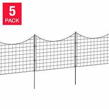 Zippity 25 In Tall Black Metal Fence With Stakes 5 Pack Fence Panels Wood Fence Metal Fence