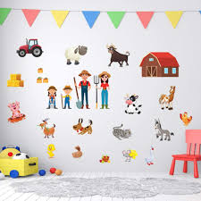 Amazon Com Family Farm Adhesive Wall Decals Jesplay Wall Decor Stickers For Kids Toddlers Include Farm Animals Pig Rooster More Removable Wall Decor For Bedroom Living Room Nursery Classroom