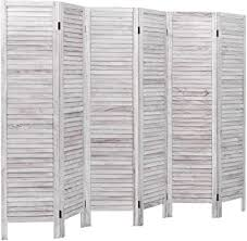 Amazon Com Giantex 6 Panel Wood Room Divider 5 6 Ft Tall Oriental Folding Freestanding Partition Privicy Room Dividers Screen For Home Office Restaurant Bedroom White Furniture Decor