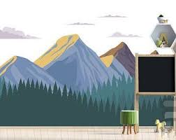 Removable Mountain Wall Decal Peel And Stick Wall Mural Etsy Mountain Wall Decal Wall Decals Nursery Wall Murals
