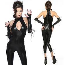 y cat woman pu leather outfit