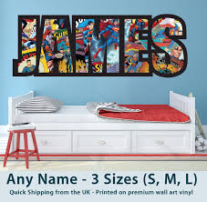 Childrens Name Wall Stickers Art Personalised Superman Comics For Boys Bedroom Marvel Bedroom Name Wall Stickers Kids Bedroom Accessories
