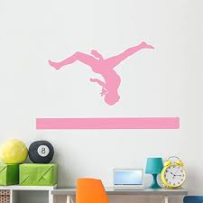 Amazon Com Wallmonkeys Wm53506 Gymnastics Silhouette Style Balance Beam Flip Peel And Stick Wall Decals 60 In W X 41 In H Jumbo Home Kitchen