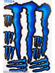 Hot Blue Monster Energy Decals Stickers Supercross Bike Motocross Kit Monster Energy Blue Bikes Monster