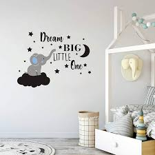 Wall Decor Home Vinyl Wall Decals For Children Baby Kids Boy Girl Bedroom Nursery Decor Y42 Dream Big Little One Elephant Wall Decal Quote Wall Stickers Blue White Baby Room Wall Decor