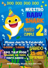 Baby Shark Birthday Invitation Girl Or Boy Option Birthday Etsy