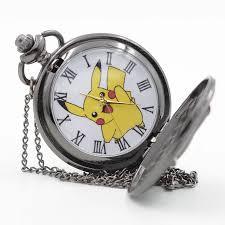 Retro Black Pikachu Game Pokemon Pocket Monsters Quartz Pocket Watch Analog  Pendant Necklace Men Women Watches Chain Boy Gift Pocket & Fob Watches