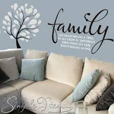 Family Branches Roots Wall Quote Vinyl Wall Family Tree Decal Simple Stencils