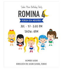 Invitacion Cumpleanos Sailor Moon Diseno Digital Personalizable