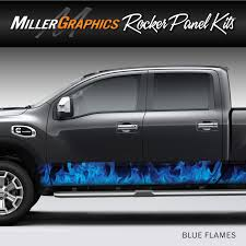 Flames Fire Blue Rocker Panel Graphic Decal Wrap Kit For Truck Suv Ebay