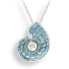 nautilus shell enamel pearl silver