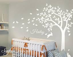 Nursery Wall Decals Stickers Large Summer Tree With Custom Name Decal Surface Inspired Home Decor Wall Decals Wall Art Wooden Letters