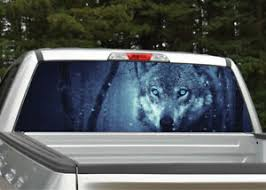 Wolf In Forest Night Scene Rear Window Decal Graphic For Truck Suv Ebay