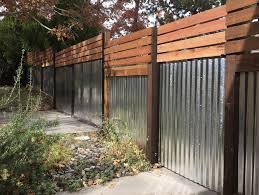 Mixed Materials Residential Privacy Fence Steel Frame With Corrugated Steel And Wood Reno Nv Steel Fence Panels Steel Fence Fence Panels