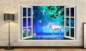 Unicorn Wall Art Sticker Mural Decal Fairy Tale Fantasy With 3d Effect A11