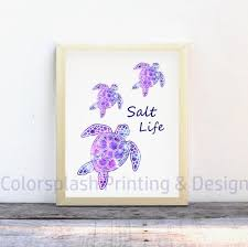 Beach Decor Salt Life Svg Sea Turtle Wall Art Print Etsy