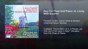 Duo For Flute And Piano: Iii. Lively, With Bounce - YouTube